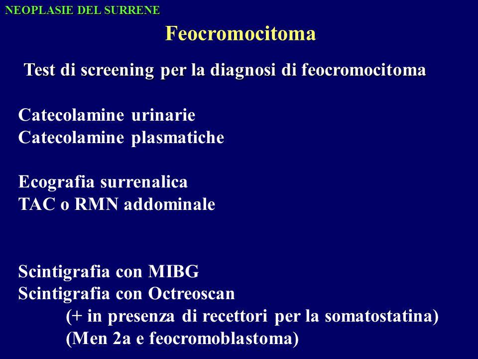 Test di screening per la diagnosi di feocromocitoma Catecolamine urinarie Catecolamine plasmatiche Ecografia surrenalica TAC o RMN addominale Scintigrafia con MIBG Scintigrafia con Octreoscan (+ in presenza di recettori per la somatostatina) (Men 2a e feocromoblastoma) Feocromocitoma NEOPLASIE DEL SURRENE