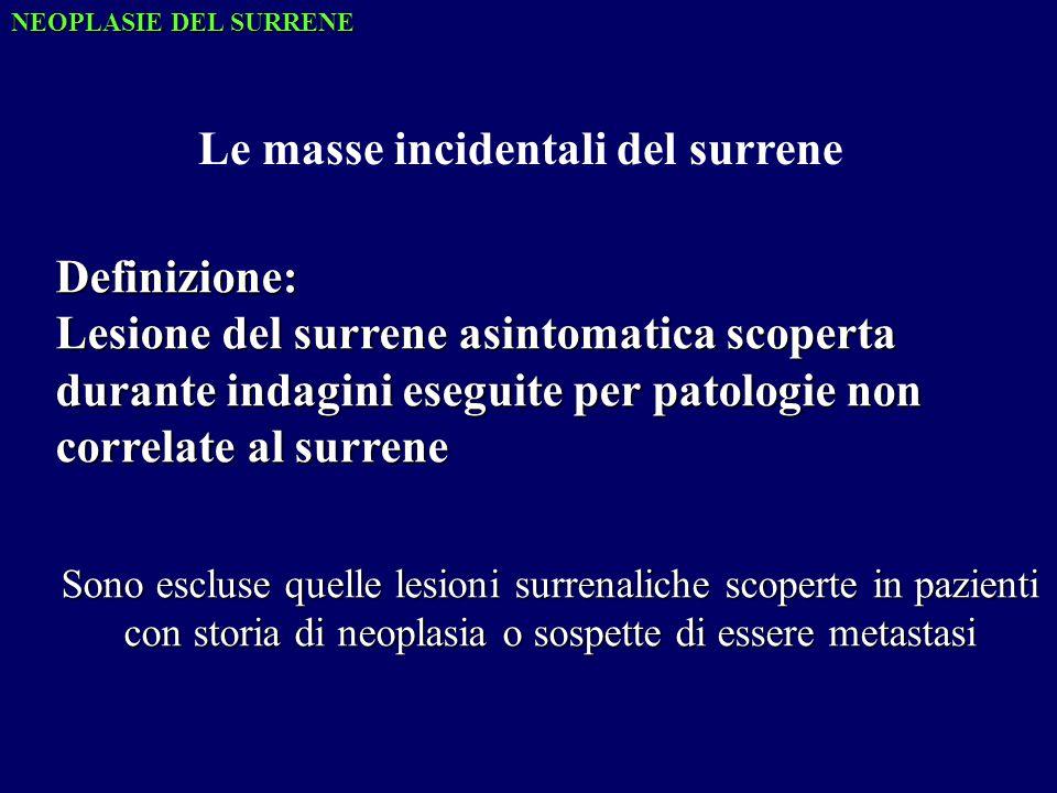 Definizione: Lesione del surrene asintomatica scoperta durante indagini eseguite per patologie non correlate al surrene Sono escluse quelle lesioni surrenaliche scoperte in pazienti con storia di neoplasia o sospette di essere metastasi Le masse incidentali del surrene NEOPLASIE DEL SURRENE