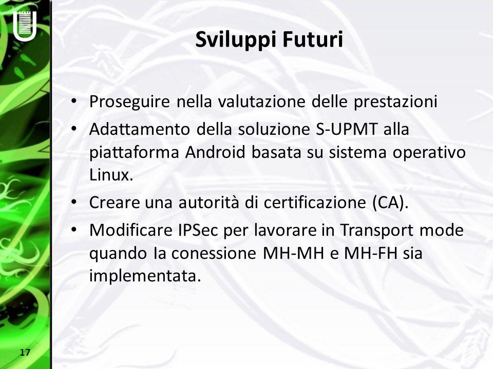 Sviluppi Futuri Proseguire nella valutazione delle prestazioni Adattamento della soluzione S-UPMT alla piattaforma Android basata su sistema operativo