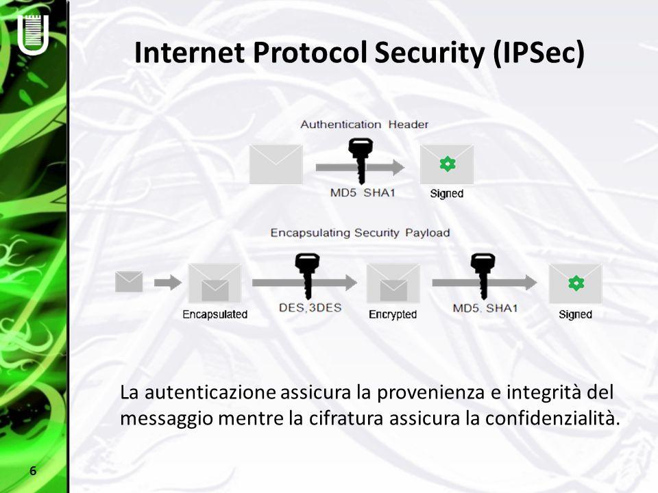 Internet Protocol Security (IPSec) 6 La autenticazione assicura la provenienza e integrità del messaggio mentre la cifratura assicura la confidenziali