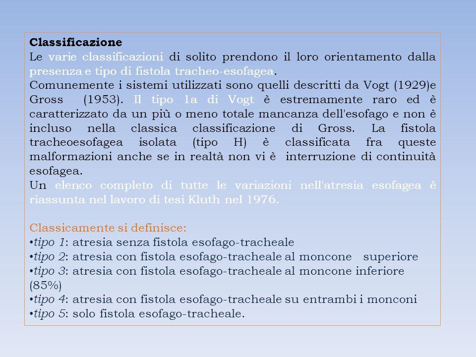 Classificazione Le varie classificazioni di solito prendono il loro orientamento dalla presenza e tipo di fistola tracheo-esofagea. Comunemente i sist