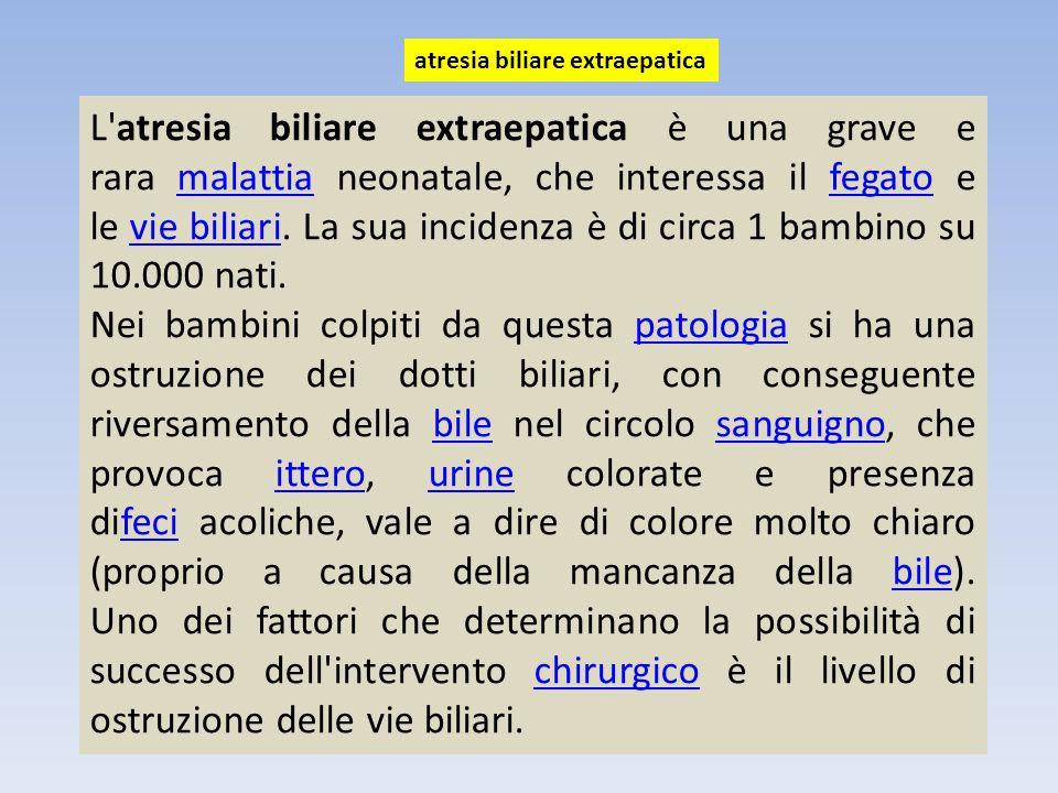 L'atresia biliare extraepatica è una grave e rara malattia neonatale, che interessa il fegato e le vie biliari. La sua incidenza è di circa 1 bambino