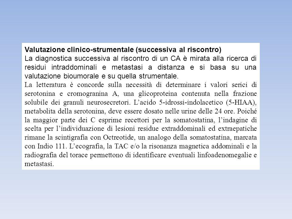 Valutazione clinico-strumentale (successiva al riscontro) La diagnostica successiva al riscontro di un CA è mirata alla ricerca di residui intraddomin