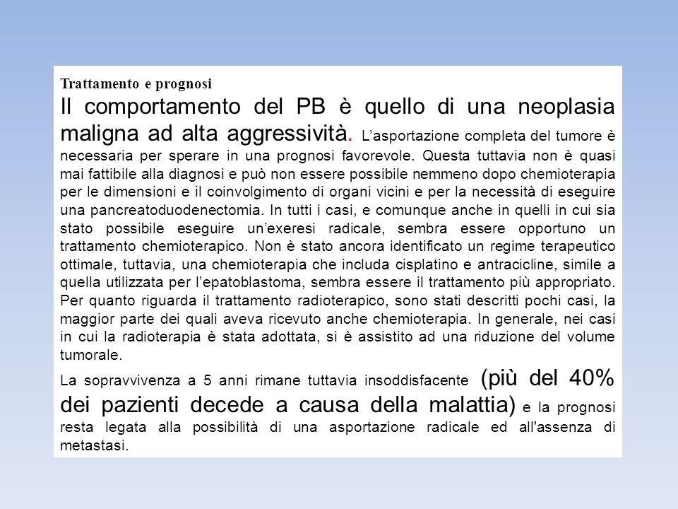 Trattamento e prognosi Il comportamento del PB è quello di una neoplasia maligna ad alta aggressività. L'asportazione completa del tumore è necessaria