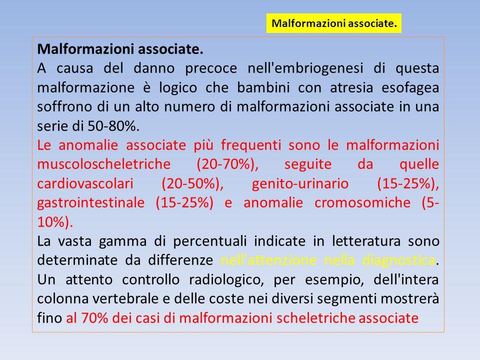 Gestione chirurgica dell atresia con fistola esofagotracheale distale (85%).