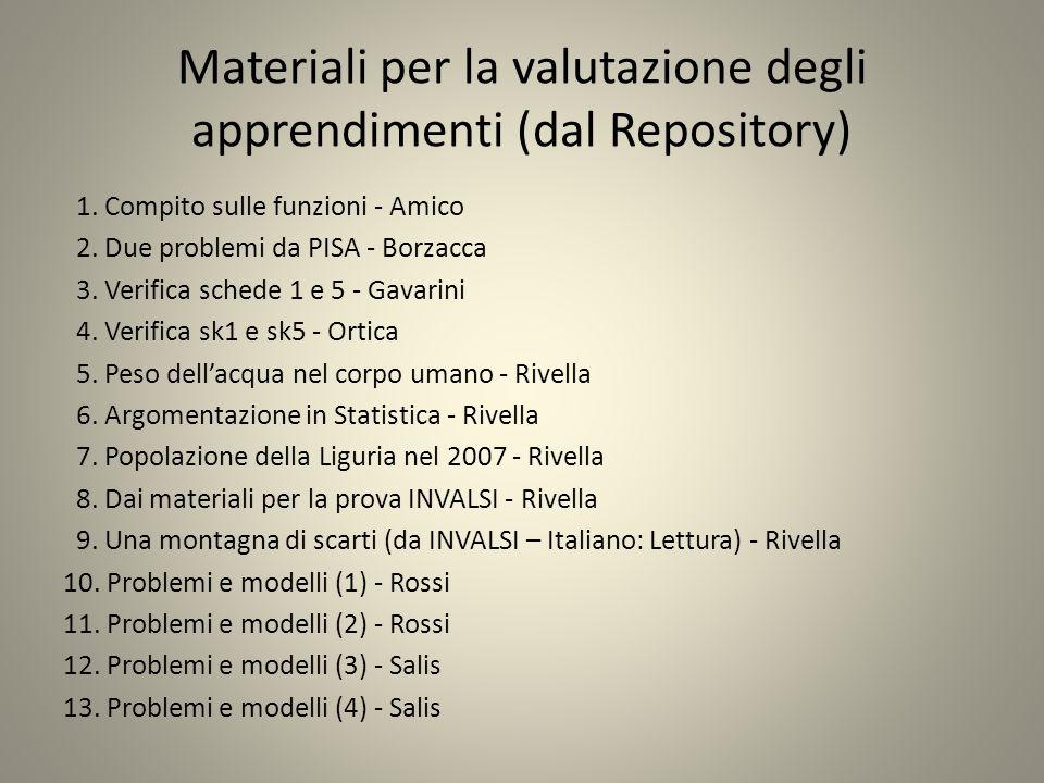 Materiali per la valutazione degli apprendimenti (dal Repository) 1.