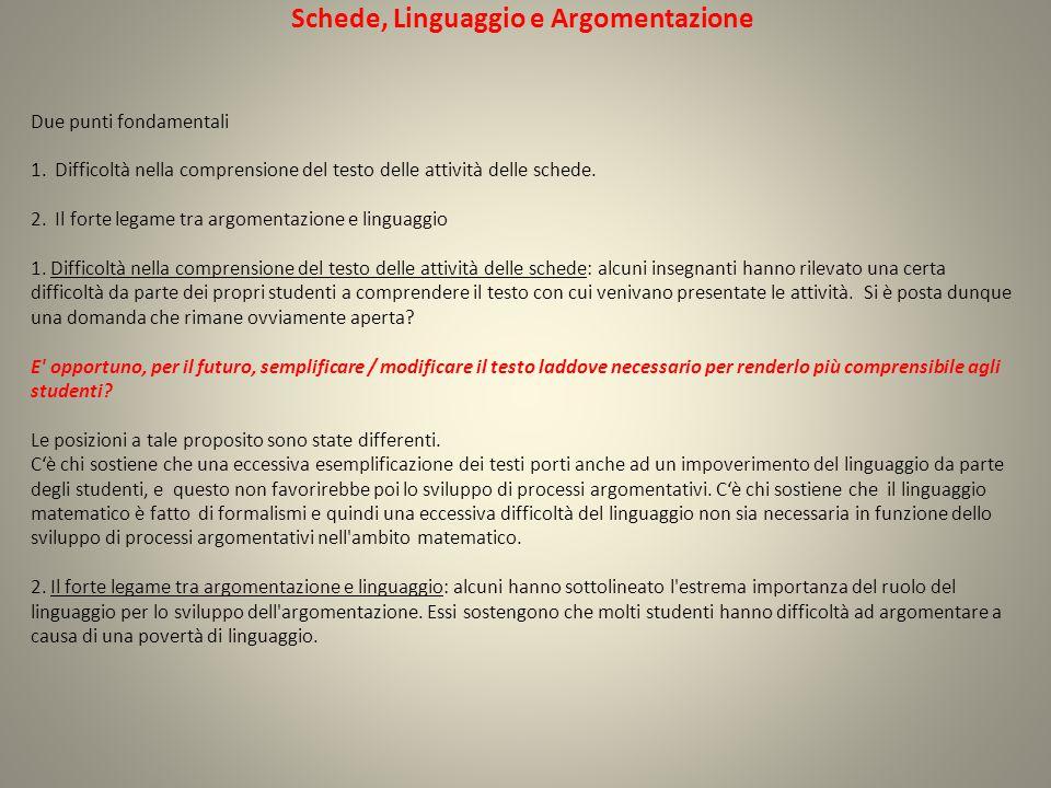 Schede, Linguaggio e Argomentazione Due punti fondamentali 1.