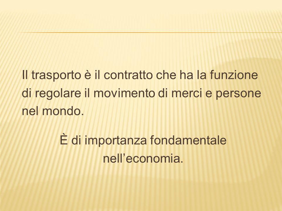 Il trasporto è il contratto che ha la funzione di regolare il movimento di merci e persone nel mondo. È di importanza fondamentale nell'economia.