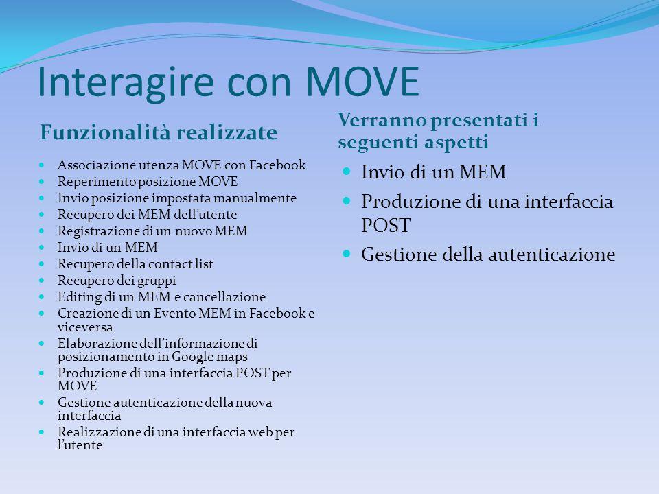 Interagire con MOVE Funzionalità realizzate Verranno presentati i seguenti aspetti Associazione utenza MOVE con Facebook Reperimento posizione MOVE In