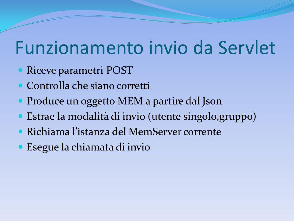 Funzionamento invio da Servlet Riceve parametri POST Controlla che siano corretti Produce un oggetto MEM a partire dal Json Estrae la modalità di invio (utente singolo,gruppo) Richiama l'istanza del MemServer corrente Esegue la chiamata di invio