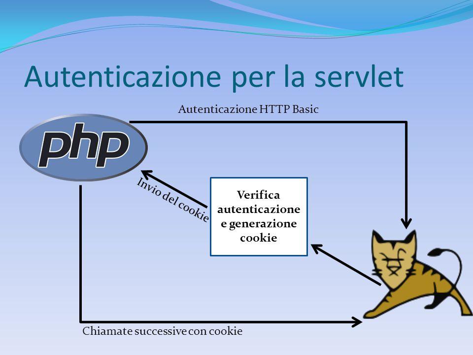 Autenticazione per la servlet Verifica autenticazione e generazione cookie Autenticazione HTTP Basic Invio del cookie Chiamate successive con cookie