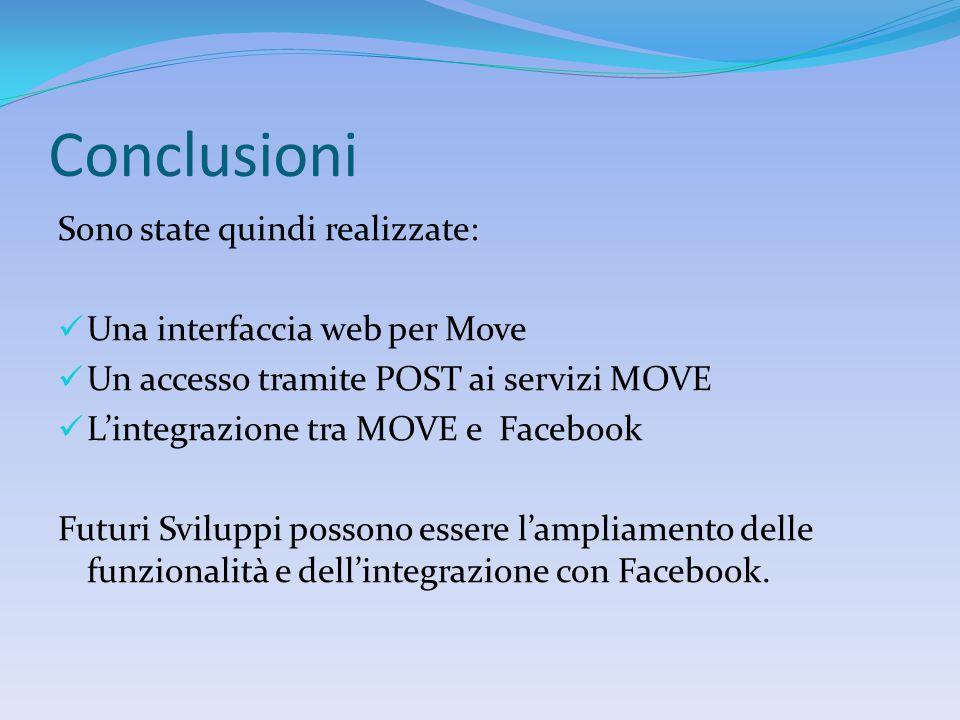 Conclusioni Sono state quindi realizzate: Una interfaccia web per Move Un accesso tramite POST ai servizi MOVE L'integrazione tra MOVE e Facebook Futuri Sviluppi possono essere l'ampliamento delle funzionalità e dell'integrazione con Facebook.