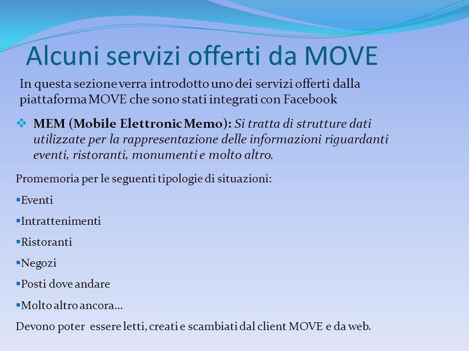 Alcuni servizi offerti da MOVE In questa sezione verra introdotto uno dei servizi offerti dalla piattaforma MOVE che sono stati integrati con Facebook