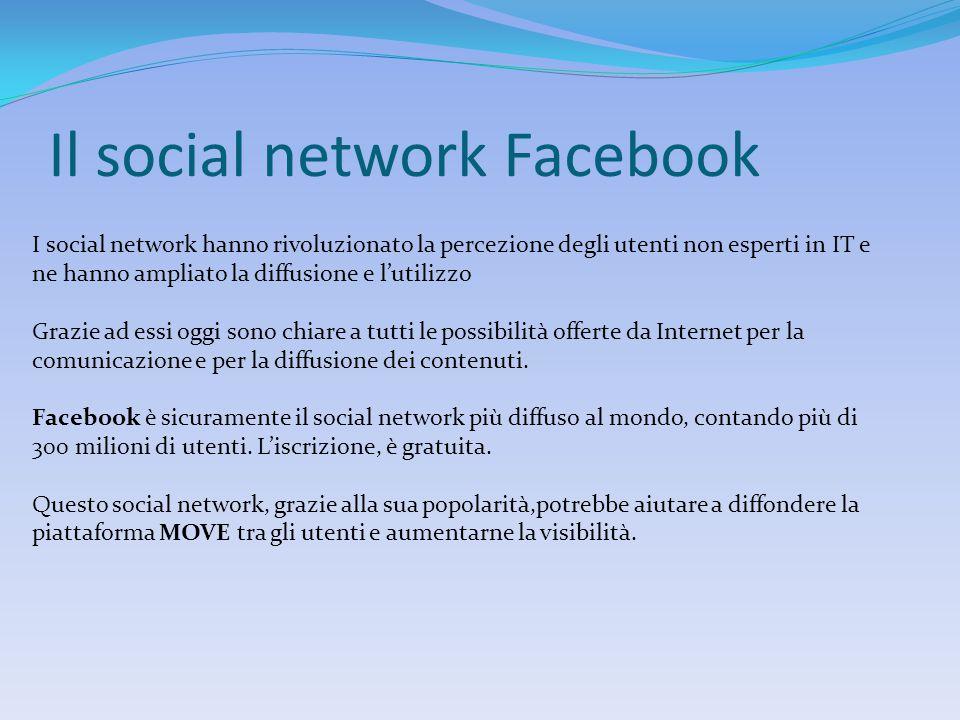 Il social network Facebook I social network hanno rivoluzionato la percezione degli utenti non esperti in IT e ne hanno ampliato la diffusione e l'utilizzo Grazie ad essi oggi sono chiare a tutti le possibilità offerte da Internet per la comunicazione e per la diffusione dei contenuti.