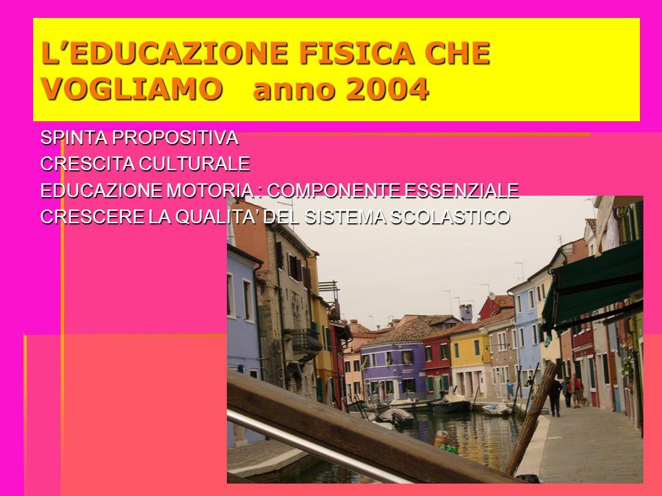 L'EDUCAZIONE FISICA CHE VOGLIAMO anno 2004 SPINTA PROPOSITIVA CRESCITA CULTURALE EDUCAZIONE MOTORIA : COMPONENTE ESSENZIALE CRESCERE LA QUALITA' DEL S