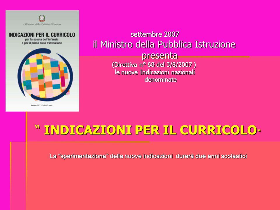 settembre 2007 settembre 2007 il Ministro della Pubblica Istruzione il Ministro della Pubblica Istruzione presenta presenta (Direttiva n° 68 del 3/8/2