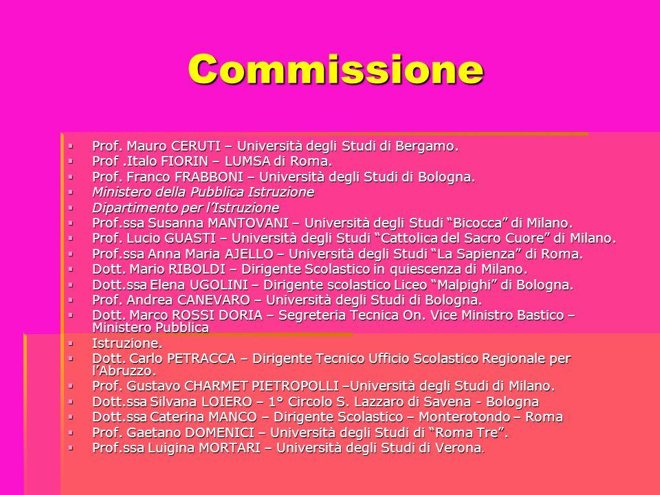 Commissione  Prof. Mauro CERUTI – Università degli Studi di Bergamo.  Prof.Italo FIORIN – LUMSA di Roma.  Prof. Franco FRABBONI – Università degli