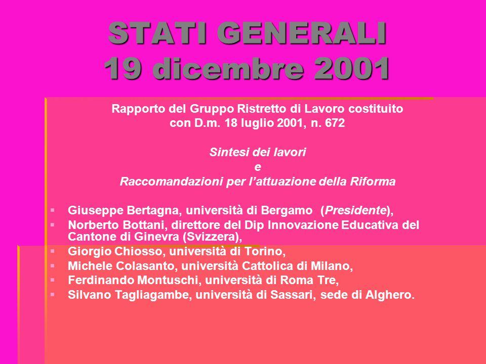 STATI GENERALI 19 dicembre 2001 Rapporto del Gruppo Ristretto di Lavoro costituito con D.m. 18 luglio 2001, n. 672 Sintesi dei lavori e Raccomandazion