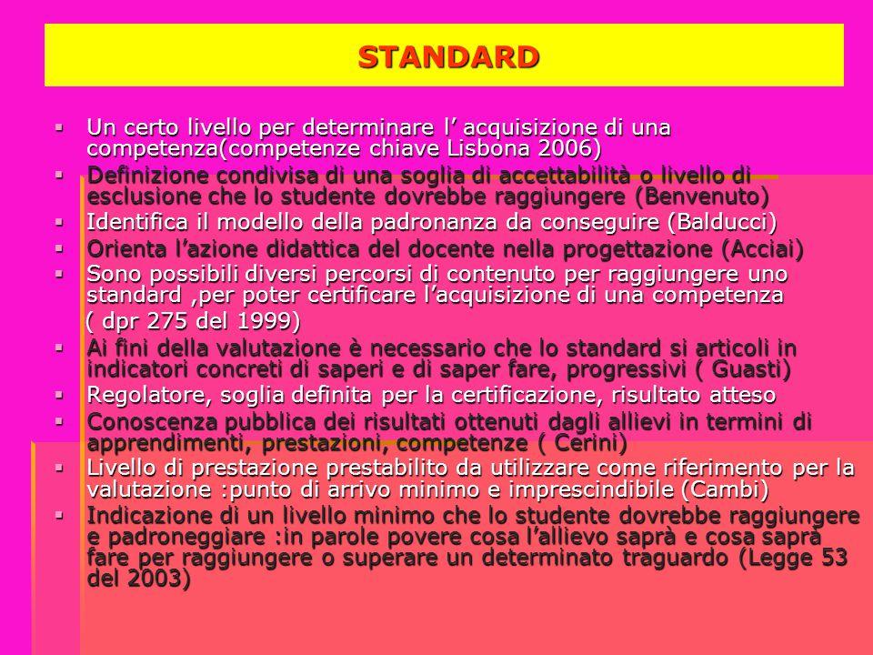 STANDARD STANDARD  Un certo livello per determinare l' acquisizione di una competenza(competenze chiave Lisbona 2006)  Definizione condivisa di una