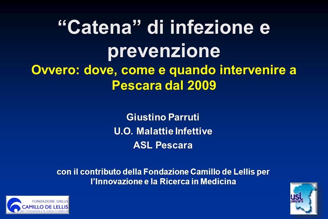 Catena di infezione e prevenzione Ovvero: dove, come e quando intervenire a Pescara dal 2009 Giustino Parruti U.O.