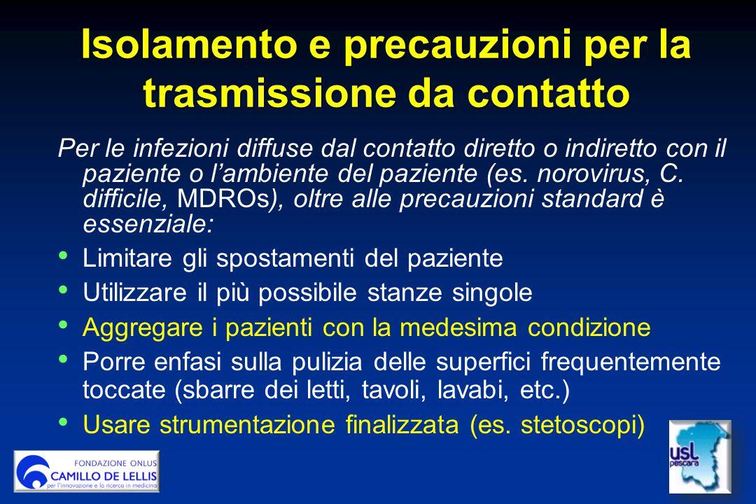 Isolamento e precauzioni per la trasmissione da contatto Per le infezioni diffuse dal contatto diretto o indiretto con il paziente o l'ambiente del paziente (es.