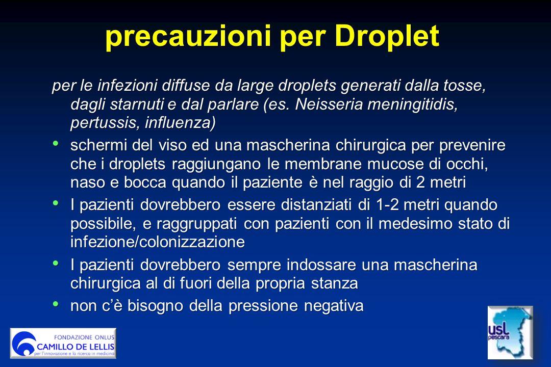 precauzioni per Droplet per le infezioni diffuse da large droplets generati dalla tosse, dagli starnuti e dal parlare (es.
