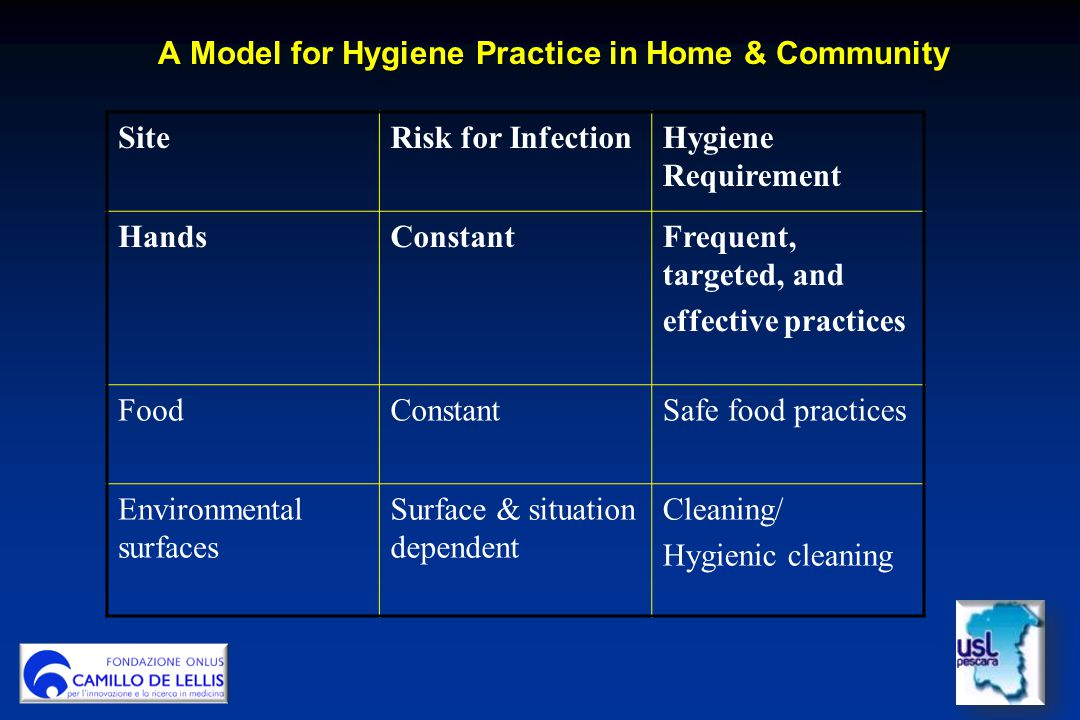 A Model for Hygiene Practice in Home & Community A Model for Hygiene Practice in Home & Community SiteRisk for InfectionHygiene Requirement HandsConst