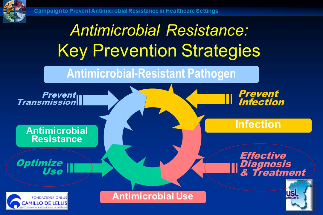Antimicrobial Resistance: Key Prevention Strategies Optimize Use Prevent Transmission Prevent Infection Effective Diagnosis & Treatment Pathogen Antim