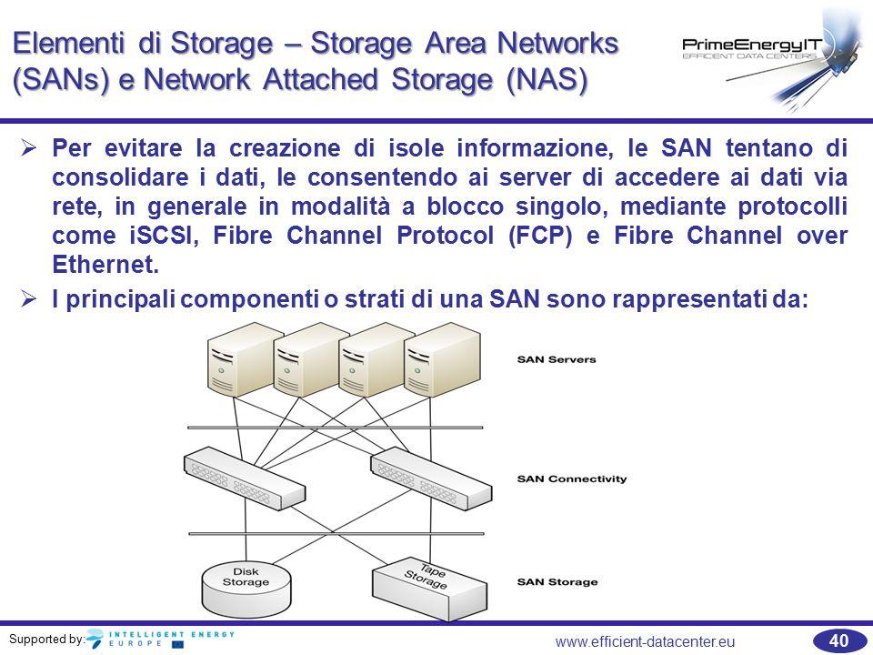 Supported by: 40 www.efficient-datacenter.eu Elementi di Storage – Storage Area Networks (SANs) e Network Attached Storage (NAS)   Per evitare la creazione di isole informazione, le SAN tentano di consolidare i dati, le consentendo ai server di accedere ai dati via rete, in generale in modalità a blocco singolo, mediante protocolli come iSCSI, Fibre Channel Protocol (FCP) e Fibre Channel over Ethernet.