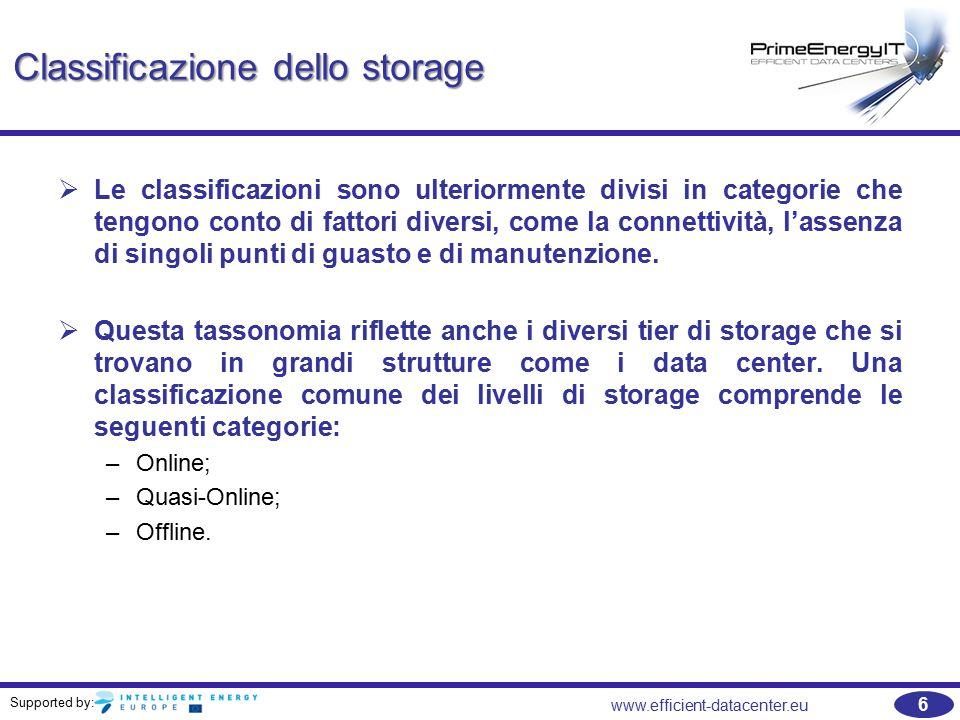 Supported by: 7 www.efficient-datacenter.eu Classificazione dello storage   È comune trovare implementazioni nei data center e in grandi aziende con diversi livelli orizzontali di storage generalmente definiti come in-linea 1, in-linea 2, backup da disco a disco e archivi su disco e media rimovibili.