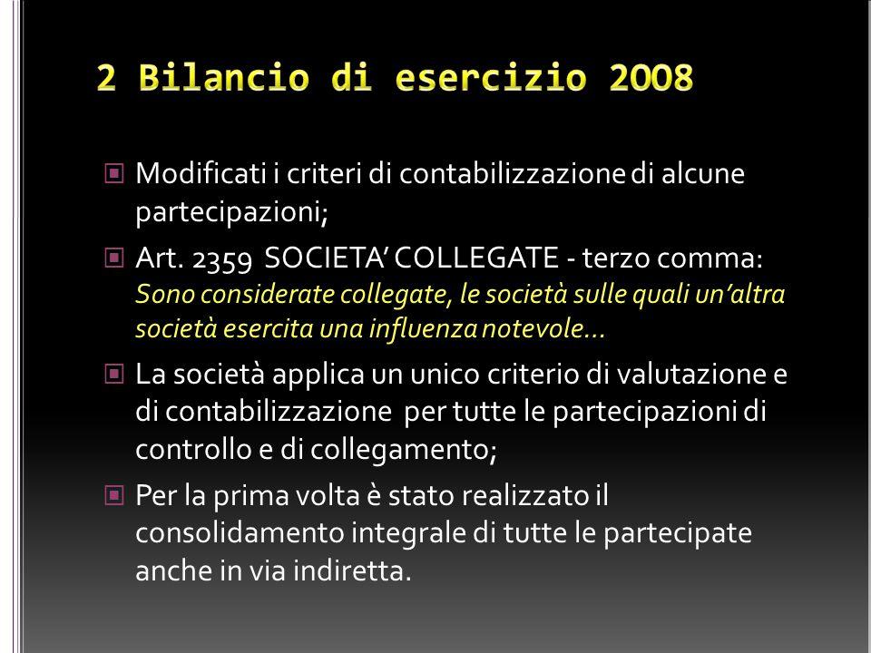 Modificati i criteri di contabilizzazione di alcune partecipazioni; Art. 2359 SOCIETA' COLLEGATE - terzo comma: Sono considerate collegate, le società