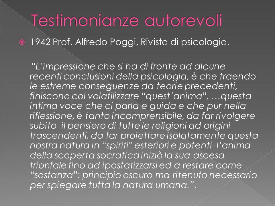  1942 Prof. Alfredo Poggi, Rivista di psicologia.
