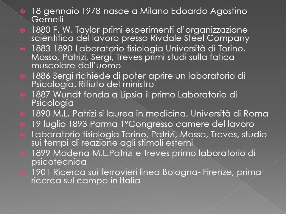  18 gennaio 1978 nasce a Milano Edoardo Agostino Gemelli  1880 F.