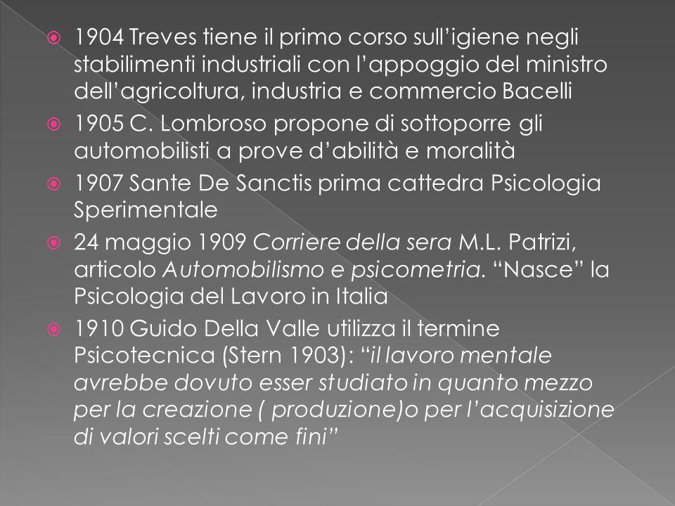  1904 Treves tiene il primo corso sull'igiene negli stabilimenti industriali con l'appoggio del ministro dell'agricoltura, industria e commercio Bacelli  1905 C.