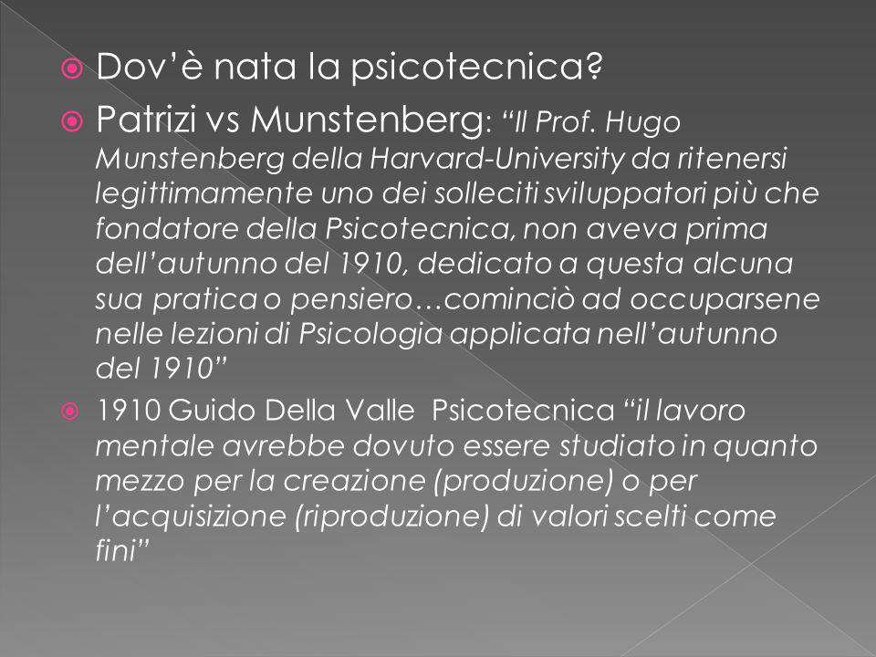  Dov'è nata la psicotecnica. Patrizi vs Munstenberg : Il Prof.
