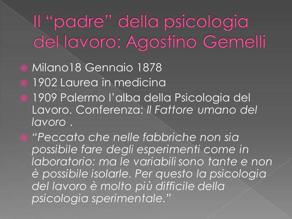  Milano18 Gennaio 1878  1902 Laurea in medicina  1909 Palermo l'alba della Psicologia del Lavoro.