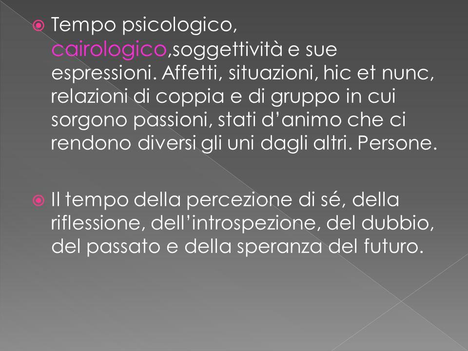  Tempo psicologico, cairologico,soggettività e sue espressioni.