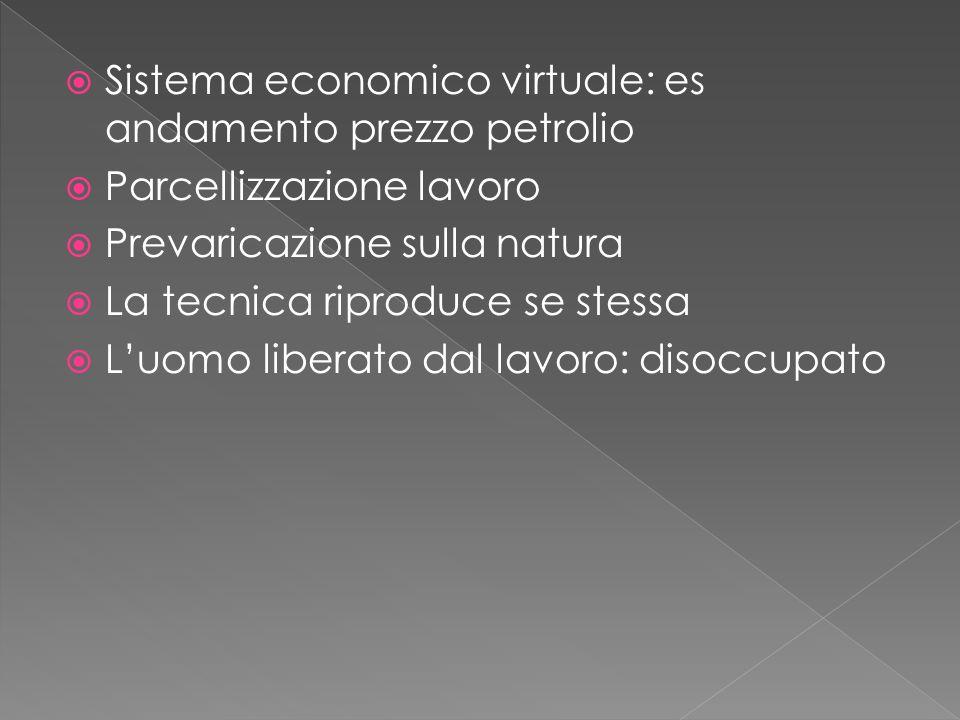  Sistema economico virtuale: es andamento prezzo petrolio  Parcellizzazione lavoro  Prevaricazione sulla natura  La tecnica riproduce se stessa  L'uomo liberato dal lavoro: disoccupato