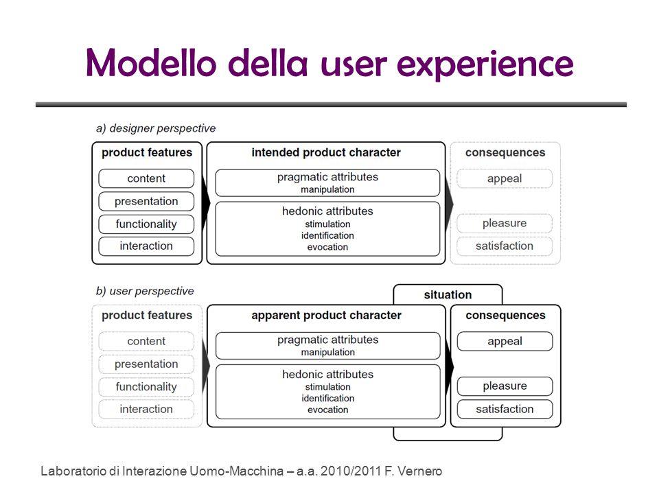 Modello della user experience Laboratorio di Interazione Uomo-Macchina – a.a. 2010/2011 F. Vernero