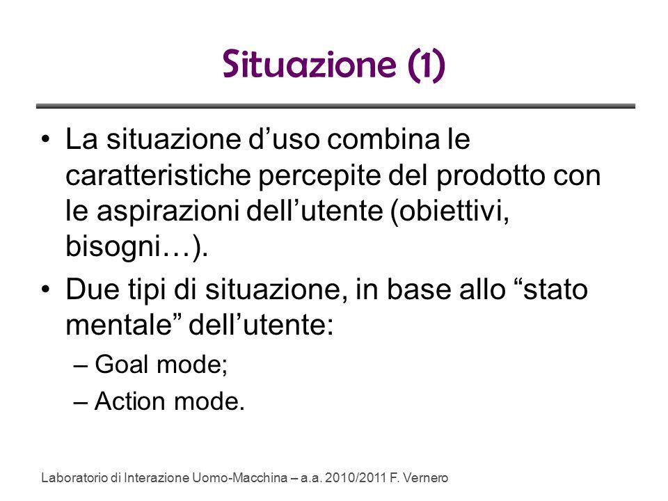 Situazione (1) La situazione d'uso combina le caratteristiche percepite del prodotto con le aspirazioni dell'utente (obiettivi, bisogni…).