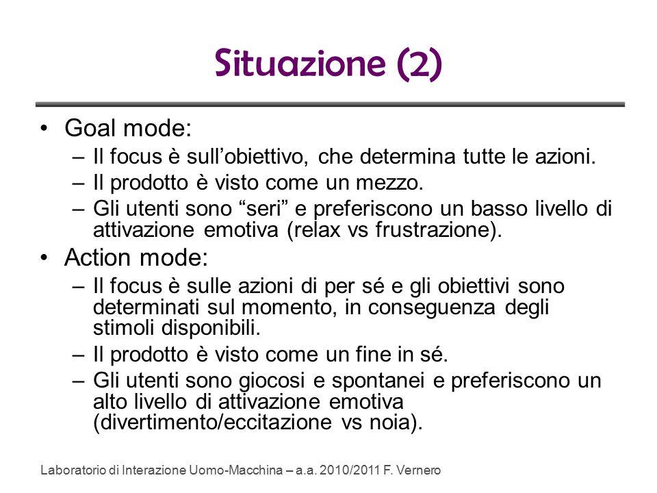 Situazione (2) Goal mode: –Il focus è sull'obiettivo, che determina tutte le azioni.