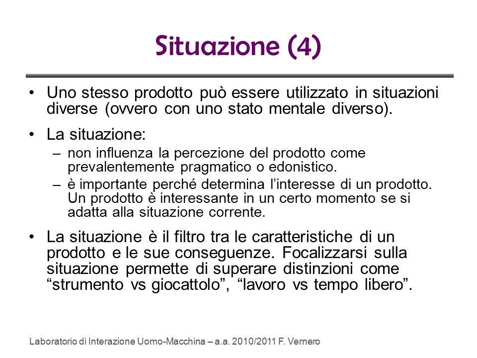 Situazione (4) Uno stesso prodotto può essere utilizzato in situazioni diverse (ovvero con uno stato mentale diverso).