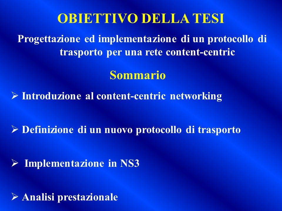 OBIETTIVO DELLA TESI Progettazione ed implementazione di un protocollo di trasporto per una rete content-centric Sommario  Introduzione al content-ce