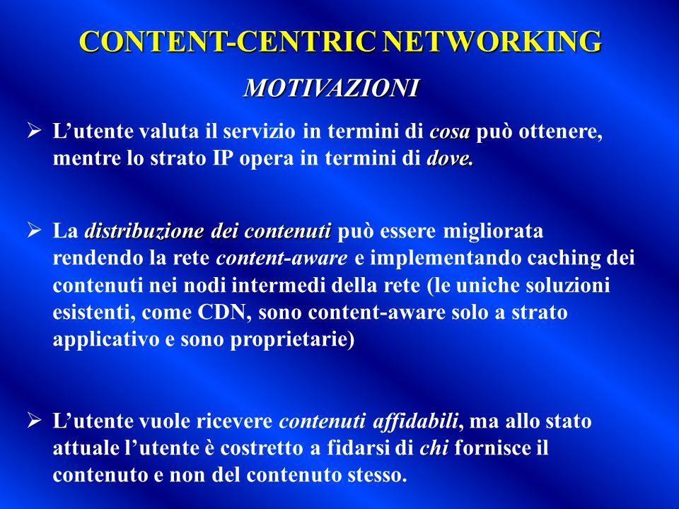 CONTENT-CENTRIC NETWORKING MOTIVAZIONI cosa dove.  L'utente valuta il servizio in termini di cosa può ottenere, mentre lo strato IP opera in termini
