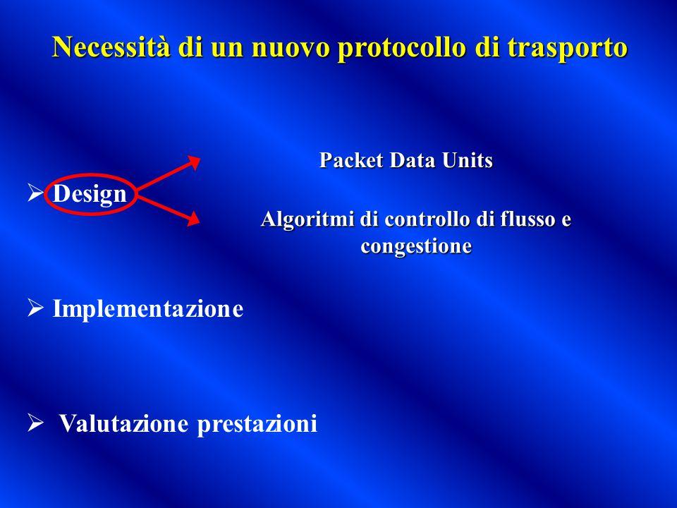 Necessità di un nuovo protocollo di trasporto  Design  Implementazione  Valutazione prestazioni Packet Data Units Algoritmi di controllo di flusso