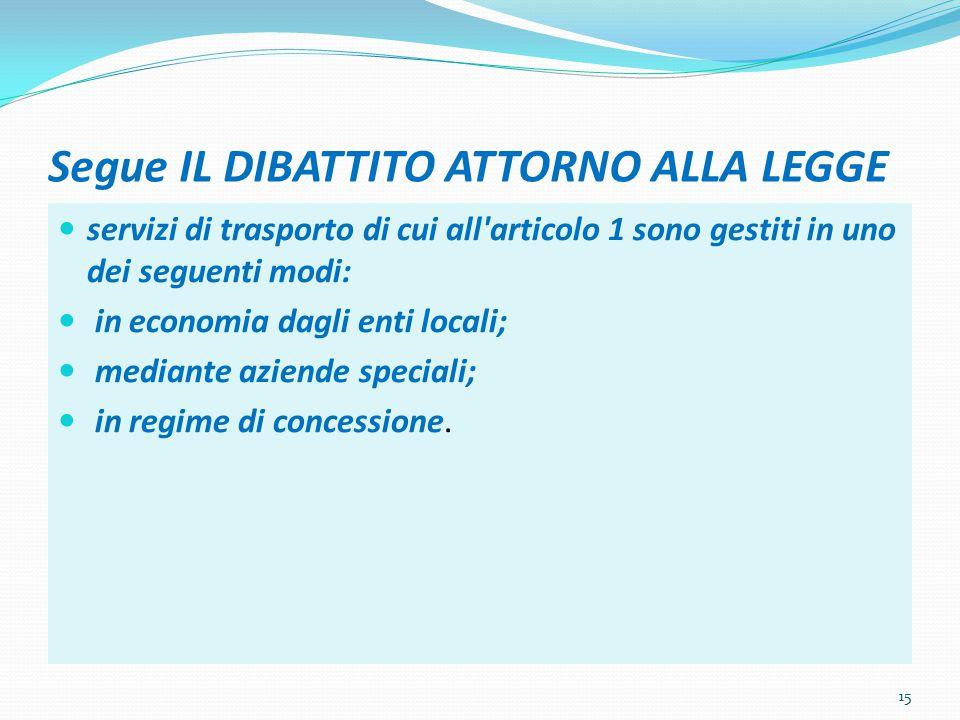 Segue IL DIBATTITO ATTORNO ALLA LEGGE servizi di trasporto di cui all articolo 1 sono gestiti in uno dei seguenti modi: in economia dagli enti locali; mediante aziende speciali; in regime di concessione.