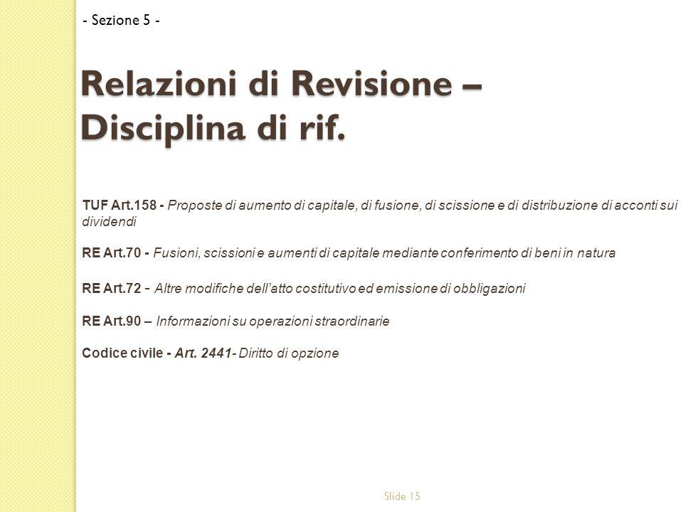 Slide 15 Relazioni di Revisione – Disciplina di rif.
