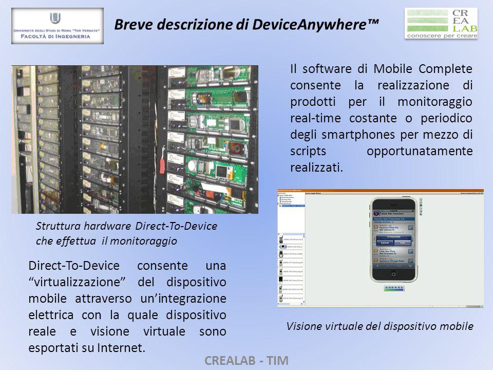 CREALAB - TIM Breve descrizione di DeviceAnywhere™ Struttura hardware Direct-To-Device che effettua il monitoraggio Direct-To-Device consente una virtualizzazione del dispositivo mobile attraverso un'integrazione elettrica con la quale dispositivo reale e visione virtuale sono esportati su Internet.