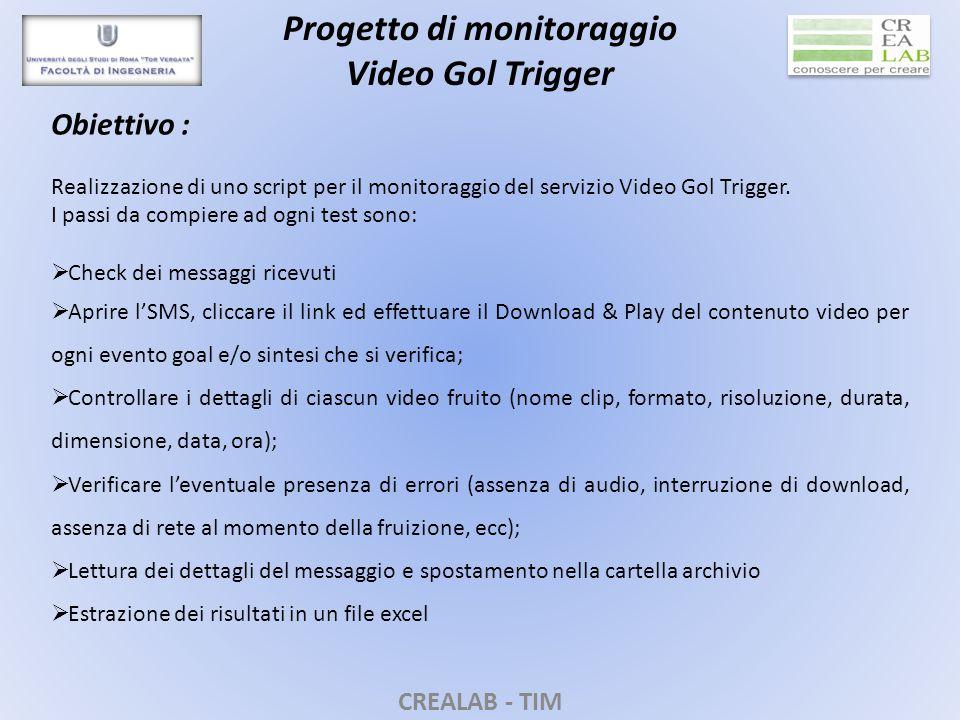 CREALAB - TIM Progetto di monitoraggio Video Gol Trigger Obiettivo : Realizzazione di uno script per il monitoraggio del servizio Video Gol Trigger.