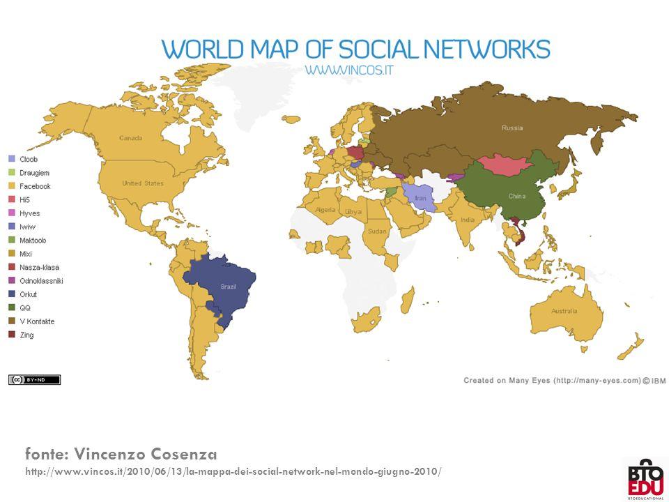 fonte: Vincenzo Cosenza http://www.vincos.it/2010/06/13/la-mappa-dei-social-network-nel-mondo-giugno-2010/